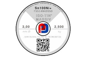 Massivlot ISO-TIN Sn100Ni+ - Ø 2.00 mm - 2500 gr