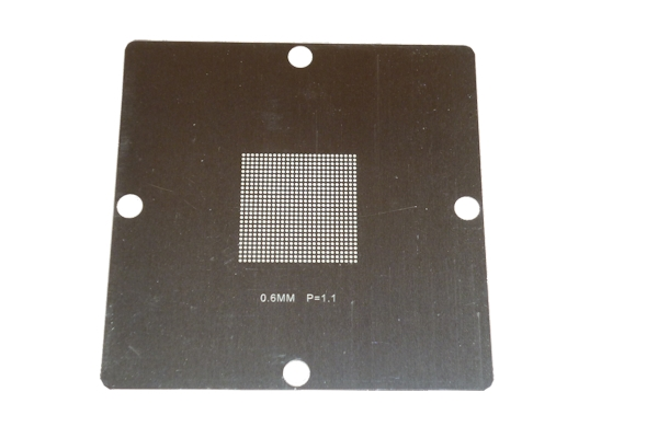 BGA Universal Schablone, 90 x 90 mm, ø 0.60 mm; Pitch 1.1 mm